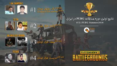 نتایج برگزاری اولین دوره مسابقات PUBG در ایران